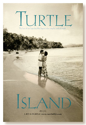 Turtle Island kissing on the beach ad