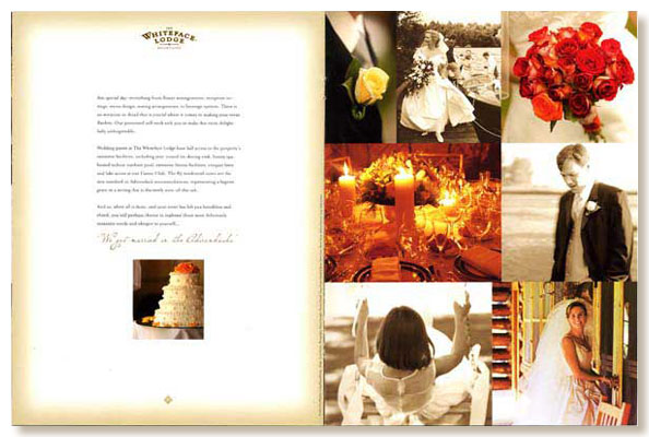 Whiteface Lodge wedding brochure interior